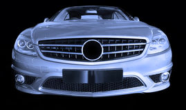 Silver luxury car. Silver luxury Mercedes Benz sports car royalty free stock photo