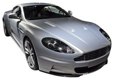 Silver luxury coupe isolated Stock Photos
