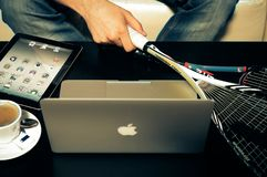 Silver Macbook Stock Photography
