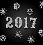 Silver Magic Background for Happy New Year 2017. Illustration Silver Magic Background for Happy New Year 2017 with Snowflakes, Glittering Luxury Wallpaper Royalty Free Stock Image