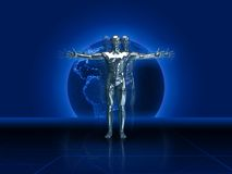 Silver Man 3D Render. Silver man and planet behind 3d render stock illustration