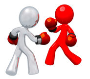 Silver Man and Red Man Boxing Stock Photography