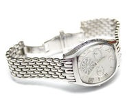 Silver man's watch Stock Photo