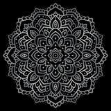 Silver mandala. On black background. Indian pattern Stock Photo