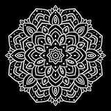 Silver mandala. On black background. Indian pattern Royalty Free Stock Photography