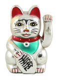 Silver Maneki Neko Japan Lucky Cat Stock Photo