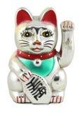 Silver Maneki Neko Japan Lucky Cat Stock Photo