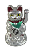 Silver Maneki Neko. Photo of Silver Maneki Neko on white background Stock Photos