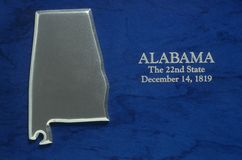 Silver Map of Alabama Stock Photos