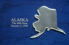 Silver Map of Alaska Royalty Free Stock Image