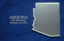Silver Map of Arizona. US royalty free stock photography