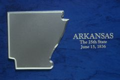 Silver Map of Arkansas Royalty Free Stock Image