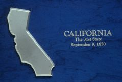 Silver Map of California Royalty Free Stock Photo