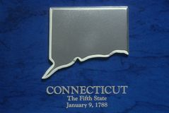 Silver Map of Connecticut Royalty Free Stock Images
