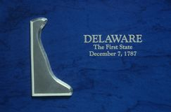 Silver Map of Delaware Stock Images