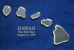 Silver Map of Hawaii. US Stock Images