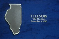 Silver Map of Illinois. US Stock Photography