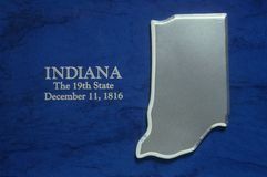 Silver Map of Indiana Stock Photography
