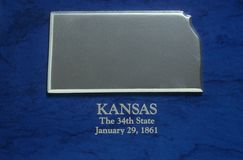 Silver Map of Kansas Royalty Free Stock Photography