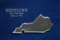 Silver Map of Kentucky Stock Photo