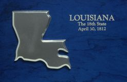 Silver Map of Louisiana Stock Image