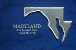 Silver Map of Maryland Royalty Free Stock Photography