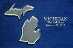 Silver Map of Michigan Royalty Free Stock Photography