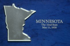 Silver Map of Minnesota Stock Images