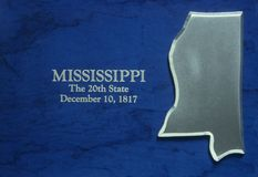 Silver Map of Mississippi Royalty Free Stock Photography