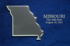 Silver Map of Missouri Royalty Free Stock Image