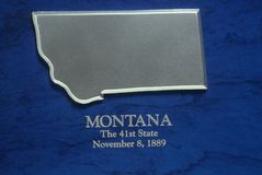 Silver Map of Montana Royalty Free Stock Images
