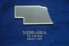 Silver Map of Nebraska Royalty Free Stock Image