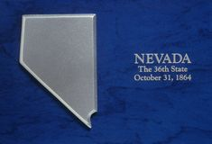 Silver Map of Nevada Stock Image
