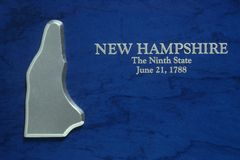 Silver Map of New Hampshire Royalty Free Stock Photo