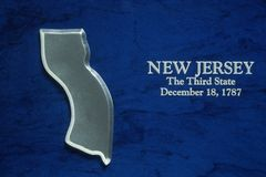 Silver Map of New Jersey Stock Image