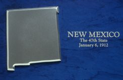 Silver Map of New Mexico. US royalty free stock images