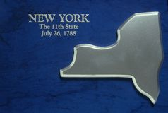 Silver Map of New York. US royalty free stock image