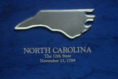 Silver Map of North Carolina Stock Image