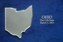 Silver Map of Ohio. US stock image