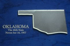 Silver Map of Oklahoma Stock Photo