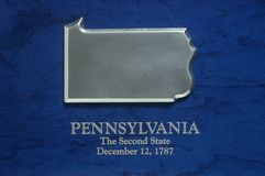 Silver Map of Pennsylvania Royalty Free Stock Images