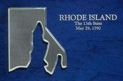 Silver Map of Rhode Island Royalty Free Stock Photo