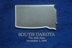 Silver Map of South Dakota Royalty Free Stock Image