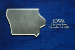 Silver map of the state of Iowa with founding date Stock Photography