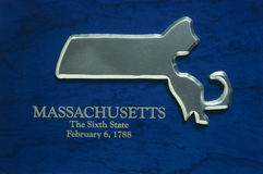 Silver map of state of Massachusettes Royalty Free Stock Photo