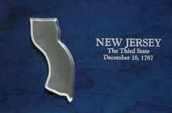 Silver map of state of New Jersey Stock Photos