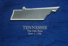 Silver Map of Tennessee Royalty Free Stock Images