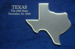 Silver Map of Texas Stock Photos