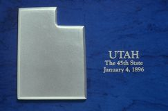 Silver Map of Utah Royalty Free Stock Photos