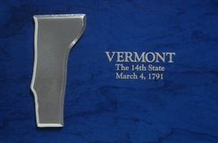 Silver Map of Vermont Royalty Free Stock Images